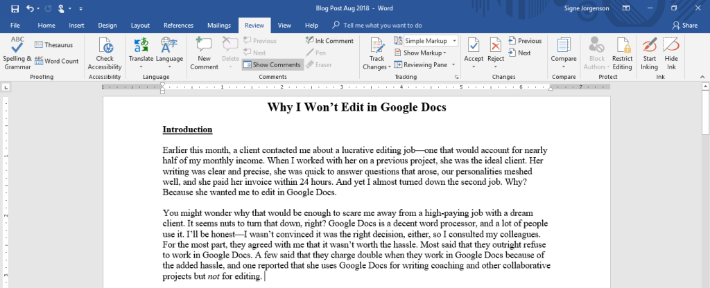 Screenshot of Microsoft Word 2016